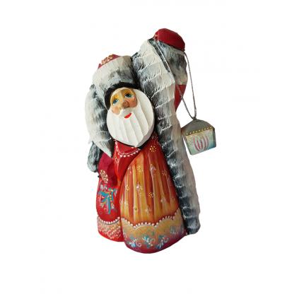"""Фигурка из дерева """"Дед мороз с фонариком"""""""