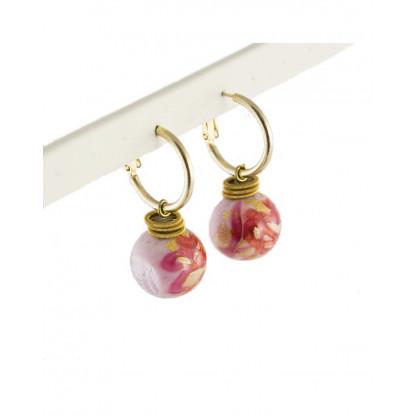Серьги MFabio из муранского стекла, розовые нежные переливы