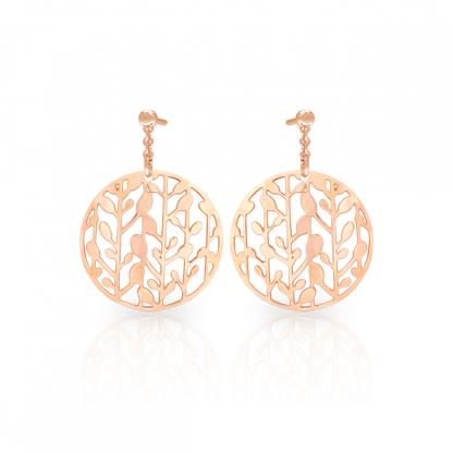 Серьги из стали с лазерной резкой и pvd розовое золото, коллекция Spring