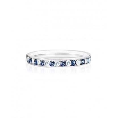 """Кольцо стальное с рядом цирконов белого и синего цвета, коллекция """"Самоцветы"""""""