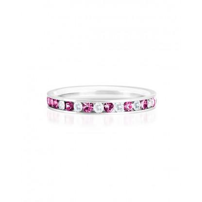 """Кольцо стальное с рядом цирконов белого и розового цвета, коллекция """"Самоцветы"""""""