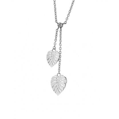 Ожерелье из стали с листьями папоротника