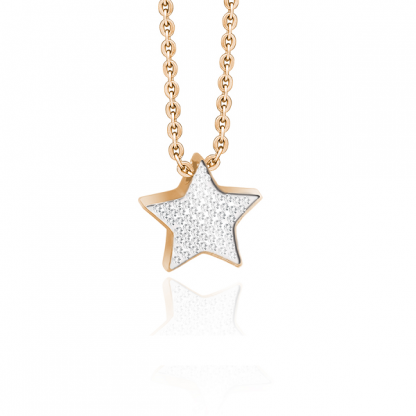 Кулон звездочка стальной с розовым золотом