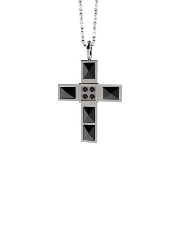 """Кулон стальной """"крест"""" с черными фианитами"""