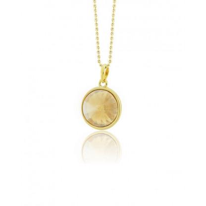 Кулон круглый с кристаллом Сваровски цвета шампань, золотое pvd, ювелирный сплав с родированным покрытием