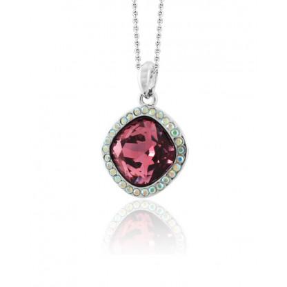 """Кулон """"Ромб"""" с фиолетового-розовым кристаллом Сваровски, ювелирный сплав с родированным покрытием"""