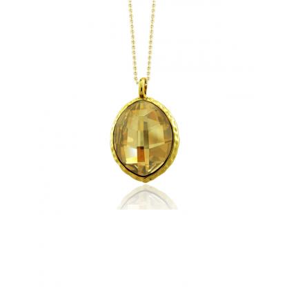 Кулон с овальным кристаллом сваровски цвета шампань, ювелирный сплав, золотое pvd