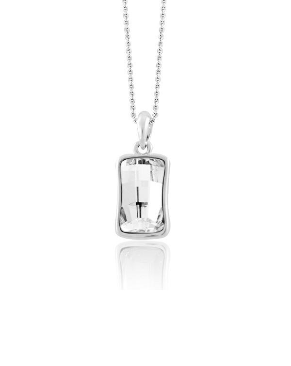 Кулон с прямоугольным прозрачным кристаллом Сваровски, родированное покрытие