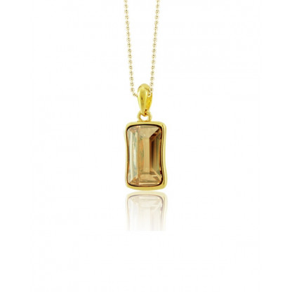 Кулон с прямоугольным кристаллом сваровски цвета шампань, родированное золотое покрытие