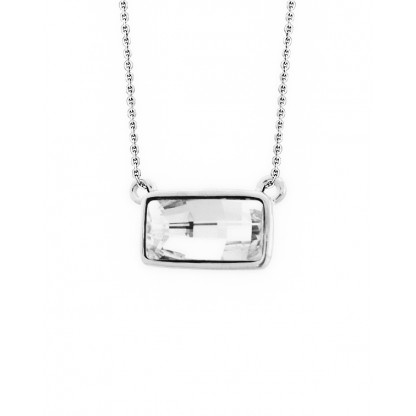 Кулон прямоугольный с прозрачным кристаллом Сваровски, ювелирный сплав с родированным покрытием