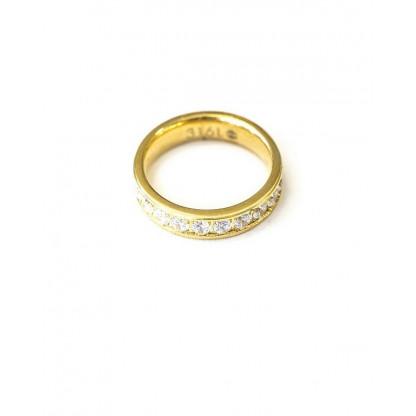 Кольцо из стали с рядом фианитов полукругом и золотым pvd