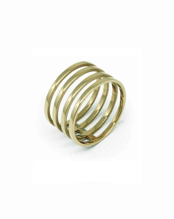 Кольцо стальное в виде пружины, золотое pvd покрытие