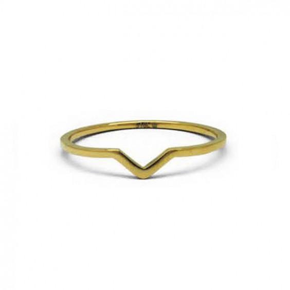 Кольцо стальное на мизинец с золотым покрытием