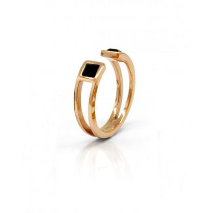 Кольцо-кафф стальное с черными квадратными фианитами и pvd розовое золото