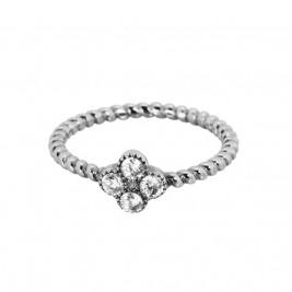 Кольцо из стали пружинка с цветком и кристаллами