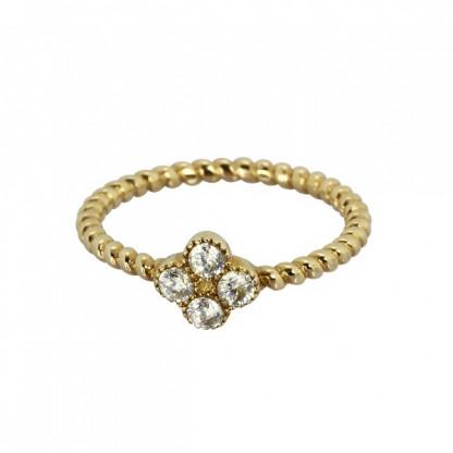 Кольцо из стали пружинка с цветком и кристаллами, золотое pvd