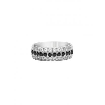 """Кольцо стальное с белыми и черными фианитами в 3 ряда, коллекция """"Совершенство"""""""