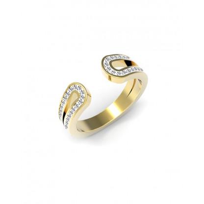 Кольцо стальное с фианитами, покрытие золото 14К