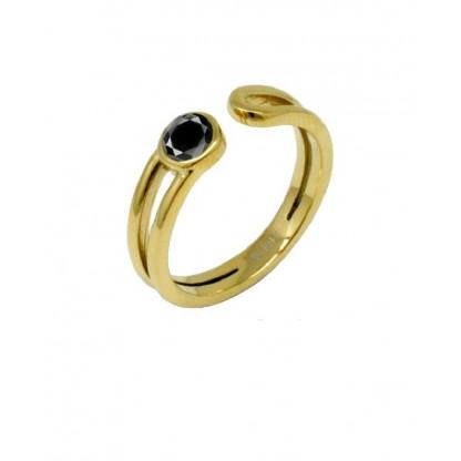 Кольцо стальное с черным цирконом, покрытие золото 14К