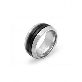 """Кольцо стальное из коллекции """"Энергия"""" c черными полосами"""