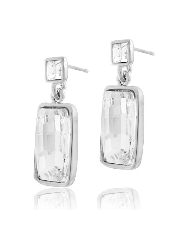Серьги с прозрачными кристаллами Swarovski, ювелирный сплав с родированным покрытием
