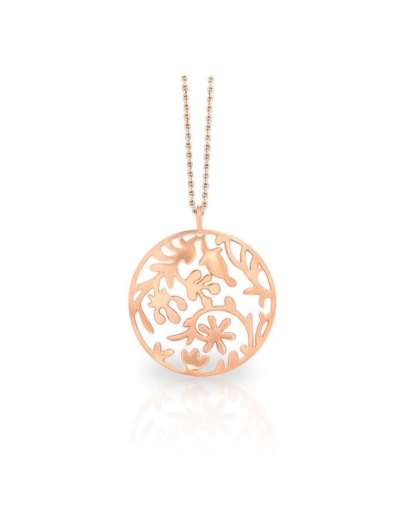 """Кулон из стали """"Ажурные цветы"""" с pvd розовое золото, коллекция Forest"""