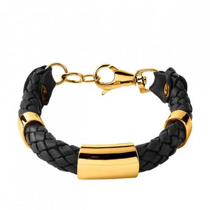 Браслет кожаный плетёный, pvd лимонное золото, коллекция Salamander