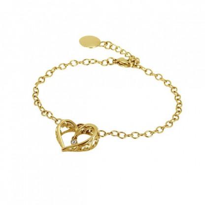 """Браслет женский из стали """"ажурное сердце"""" с золотым покрытием и кристаллом. Коллекция Hearts Club"""