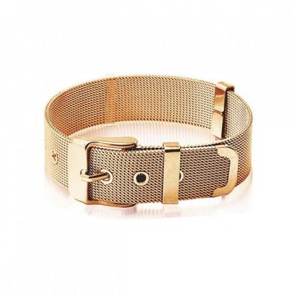 Браслет стальной в форме ремня с покрытием розовое золото, коллекция Belt