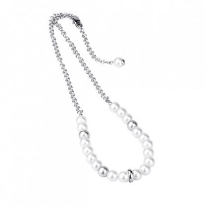 Ожерелье из стали с искусственным жемчугом