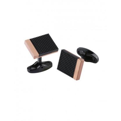 Запонки титановые с черным покрытием и pvd напылением розовое золото