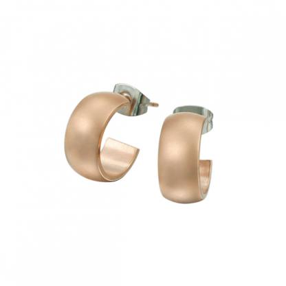 Серьги гвоздики из стали в виде колец с pvd покрытием розовое золото