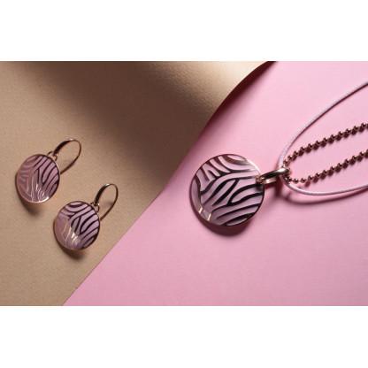 Серьги из стали, покрытие розовое золото, розовый эпоксид