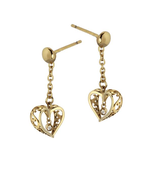 """Серьги гвоздики """"сердечки"""" из стали с кристаллом и золотым покрытием"""