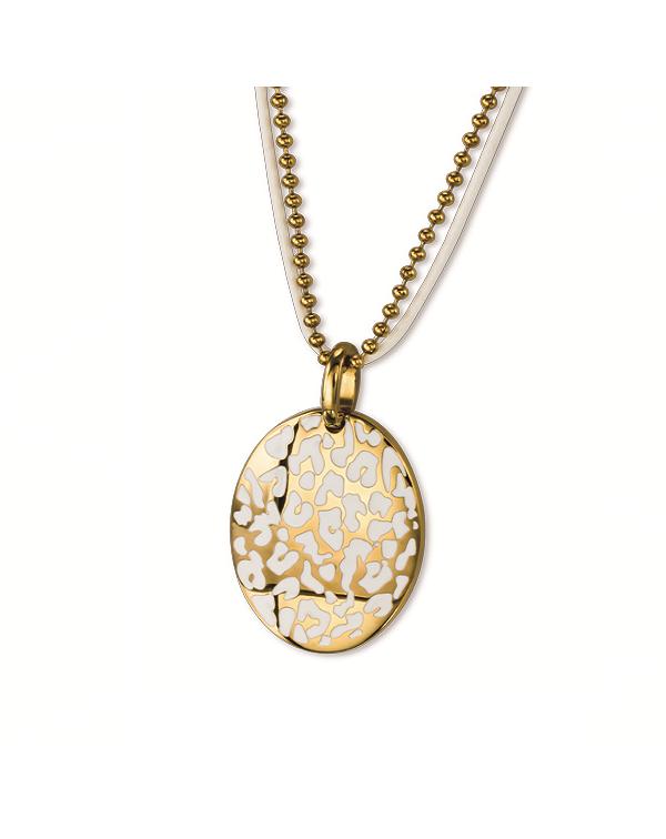 Ожерелье из стали и кожи, покрытие лимонное золото и белый эпоксид