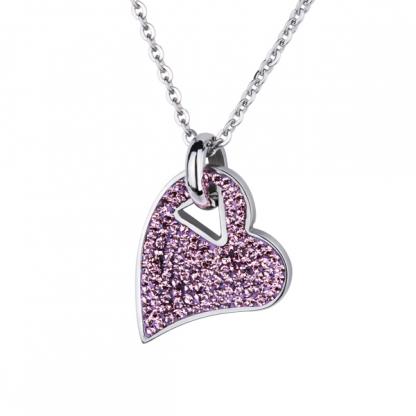 """Кулон стальной """"Кристальное сердце"""" с кристаллами аметистового цвета"""