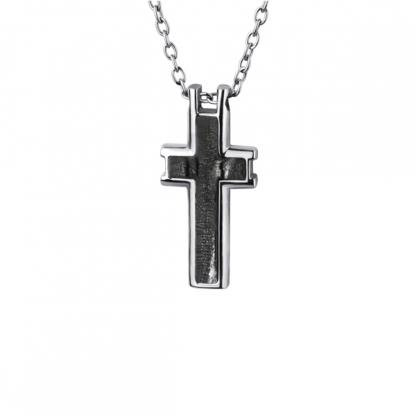 """Кулон из стали """"Зебра"""" в виде креста"""