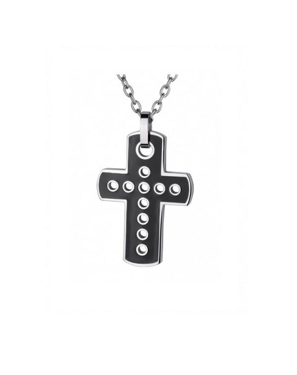 Кулон стальной крест с прорезями и черным pvd
