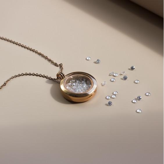Кулон стальной с медальоном и pvd розовое золото