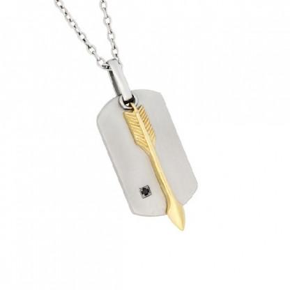 Кулон двойной со стрелой, гагатом и золотым покрытием