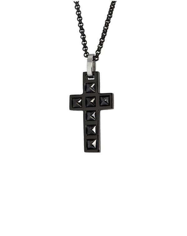 """Кулон из стали """"крест"""" с гагатами и черным pvd"""