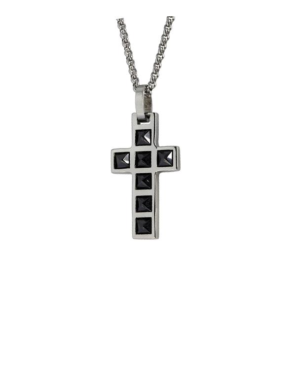 """Кулон из стали """"крест"""" с гагатами"""