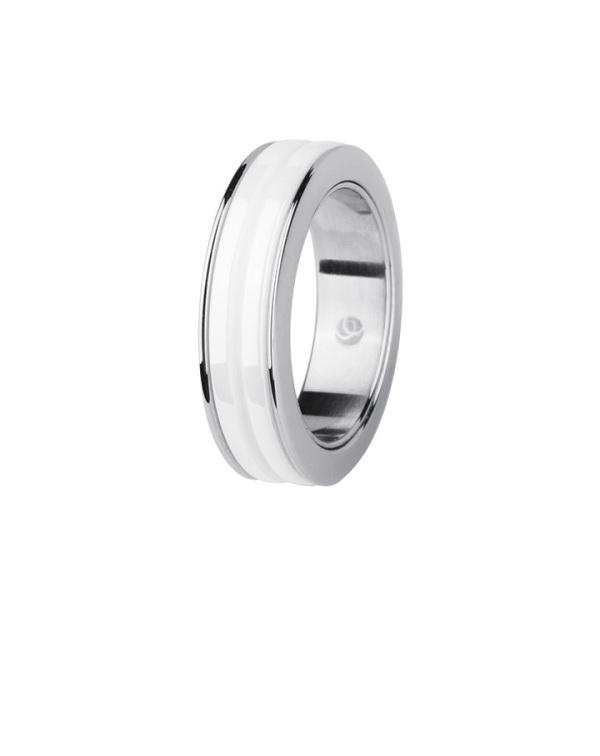 Кольцо из стали женское с белым керамическим покрытием