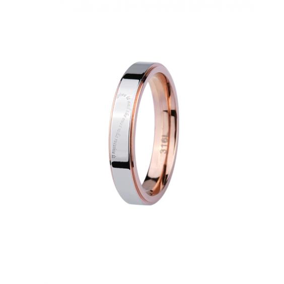 Кольцо из стали женское с надписью в виде полусердца и розовым золотом