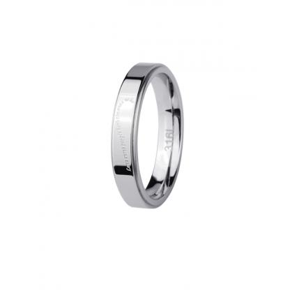 Кольцо из стали унисекс с надписью в виде полусердца