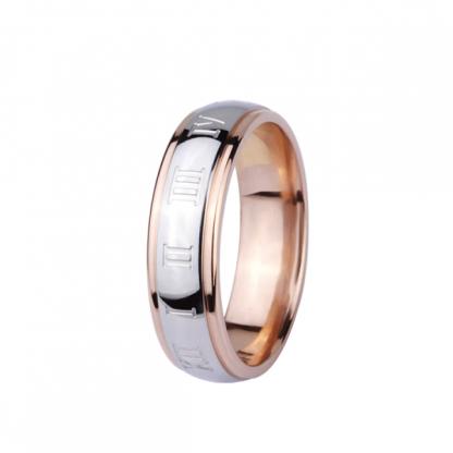 Кольцо стальное с римскими цифрами и pvd розовое золото