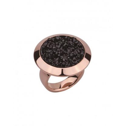 Кольцо из стали массивное с черными полимерными кристаллами, pvd розовое золото