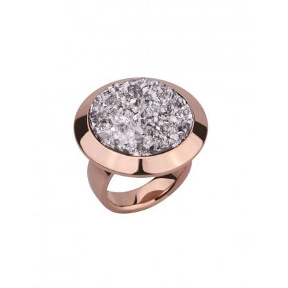 Кольцо из стали массивное с серебристыми полимерными кристаллами, pvd розовое золото
