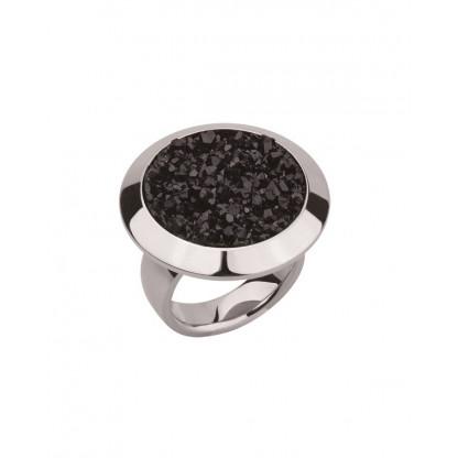 Кольцо из стали женское массивное с черными полимерными кристаллами