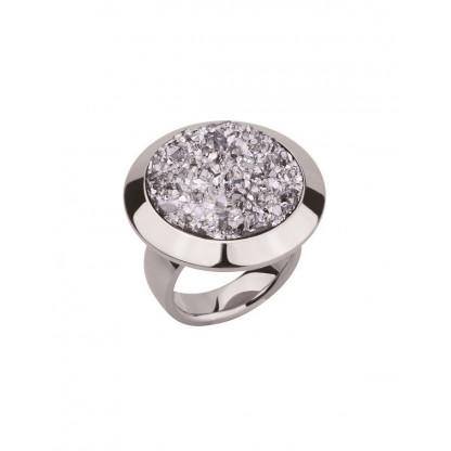 Кольцо из стали женское массивное с серебристыми полимерными кристаллами